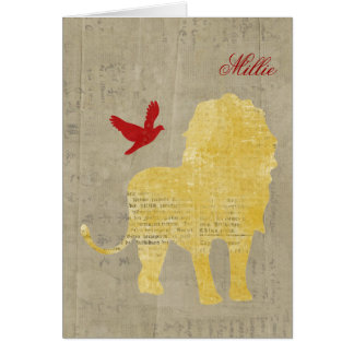 Gold Lion Silhouette Personalized Notecard