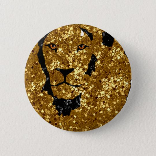 Gold Lion With Silver 6 Cm Round Badge
