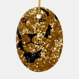 Gold Lion With Silver Christmas Tree Ornament