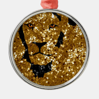 Gold Lion With Silver Christmas Tree Ornaments
