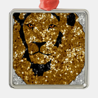 Gold Lion With Silver Christmas Ornaments
