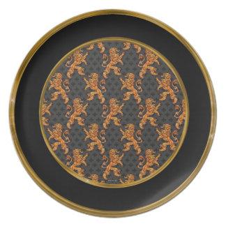 Gold Lions Fleurs on Black Plate