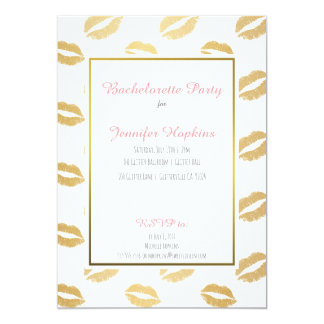 Gold Lips Bachelorette Party Invitations