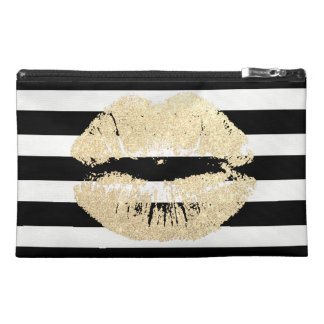 Gold Lips Black/White Stripes Travel Accessory Bag