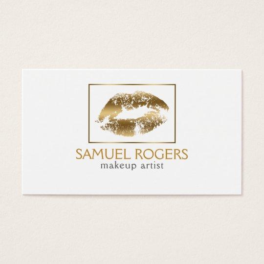 Gold Lips & Geometric Frame