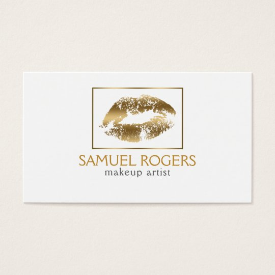 Gold Lips & Geometric Frame Business Card