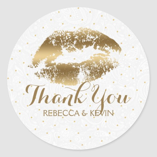 Gold Lips Kiss & Gold Dots Thank You