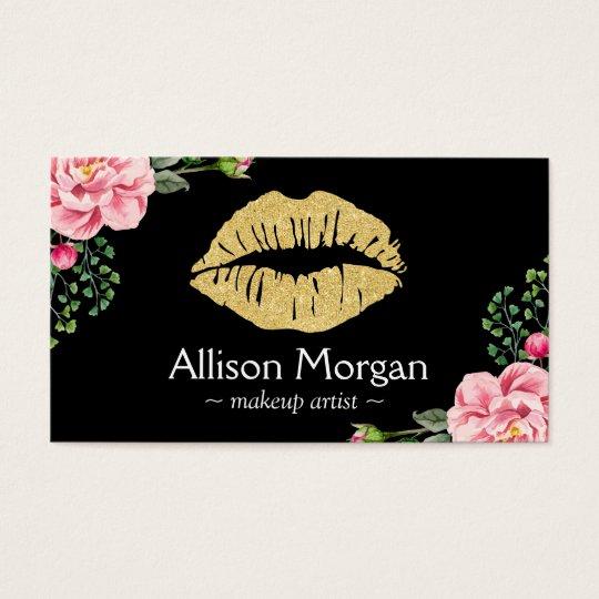 Gold Lips Makeup Artist Beautiful Flower Wrapping Business