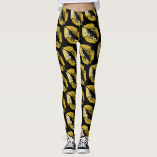 Gold Lips Modern Black Leggings