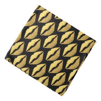 Gold Lips on Black Background/Bandana Bandana