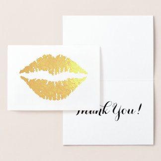 Gold Lips Thank You Foil Card