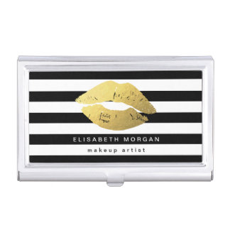 Gold Lips with Black White Stripes - Makeup Artist Business Card Holder