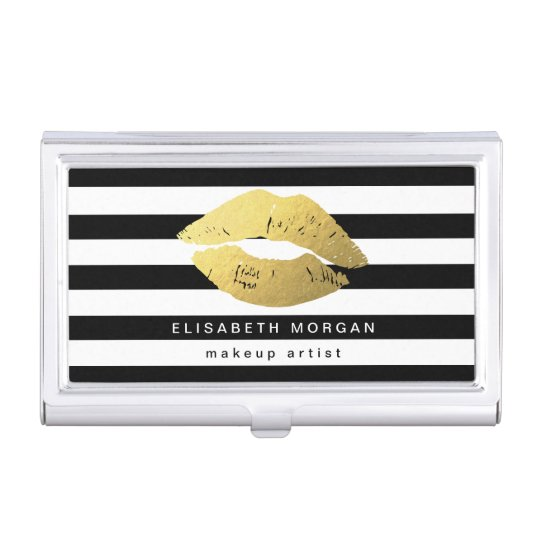 Gold lips with black white stripes makeup artist business card gold lips with black white stripes makeup artist business card holder reheart Image collections
