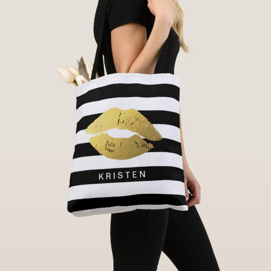 Gold Lips with Classic Black White Stripes Tote