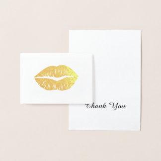 Gold Lipstick Thank You Foil Card