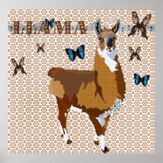 Gold Llama Butterflies Bronze Floral Poster