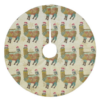 Gold Llama & Owl Christmas Tree Skirt