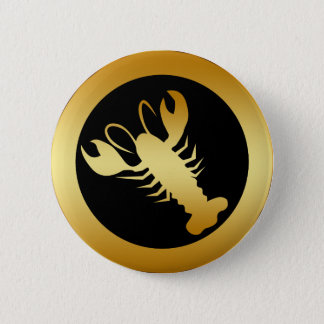 GOLD LOBSTER 6 CM ROUND BADGE