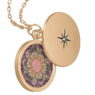 Gold Locket with Pastel Pearl Lotus Dahlia Flowers