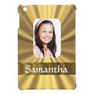 Gold look personalized photo template iPad mini cover
