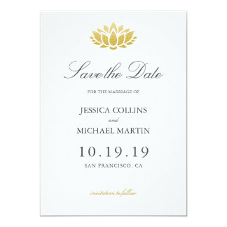 Gold Lotus Flower Wedding Save the Date Card