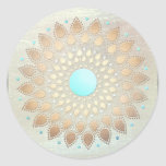 Gold Lotus Yoga and Meditation Teacher Health Spa Round Sticker