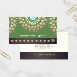 Gold Lotus Yoga Meditation 10  Class Punch Loyalty Business Card