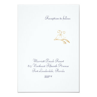 Gold Love Birds Reception Personalized Announcements