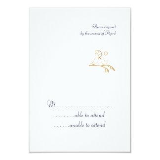 Gold Love Birds RSVP Card