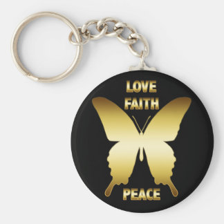 GOLD LOVE, FAITH & PEACE BUTTERFLY BASIC ROUND BUTTON KEY RING