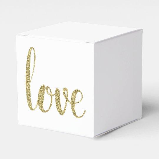 Gold love favour boxes, glitter favour box