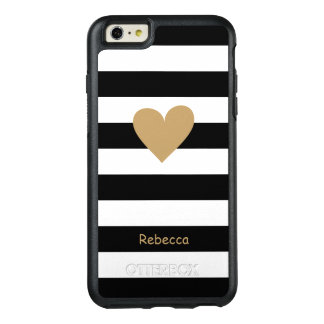 Gold Love Heart Black White Stripes Monogram Name OtterBox iPhone 6/6s Plus Case