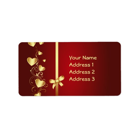 Gold Love Hearts and Flourishes Address Label