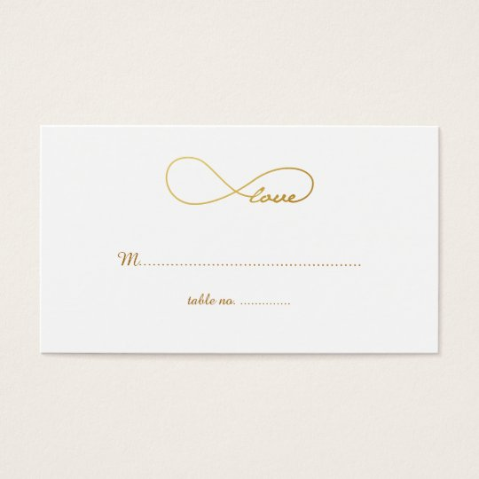 Gold Love Infinity Wedding Table Place Cards