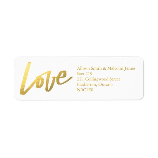 Gold Love Return Address Labels