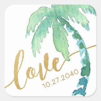 Gold Love Watercolor Palm Tree Destination Beach Square Sticker