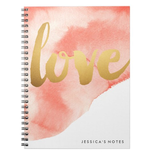 Gold Love Watercolor Personalised Notebook Coral