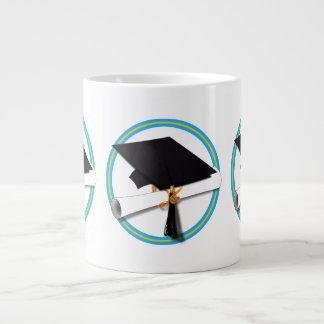 Gold Lt Blue Add Background Color Jumbo Mug
