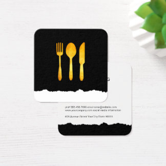 Gold Luxe Food Utensils Square Business Card