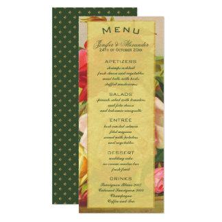 Gold luxury elegant vintage roses fleurdelis menu card