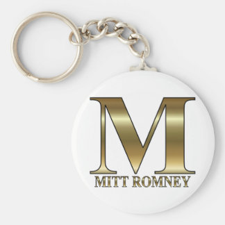 Gold M - Mitt Romney President 2012 Basic Round Button Key Ring