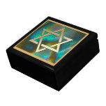 Gold Magen David on Abalone Large Square Gift Box