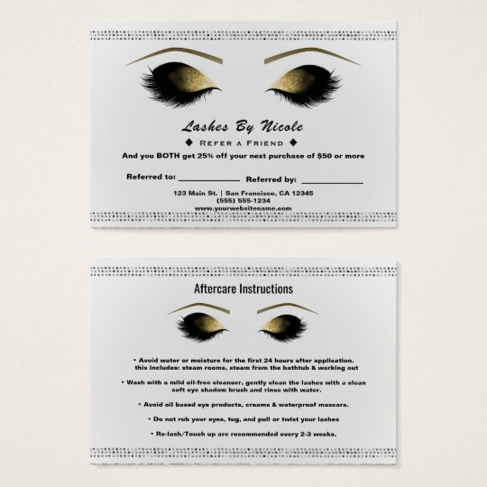Gold Makeup Eyelashes White Refer Friend Aftercare Business