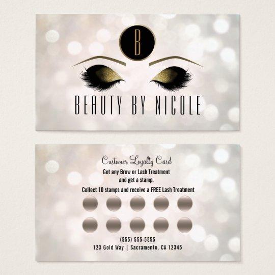 Gold Makeup Eyes White Bokeh Customer Loyalty Card