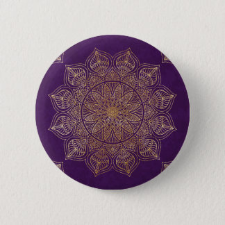 Gold mandala 6 cm round badge