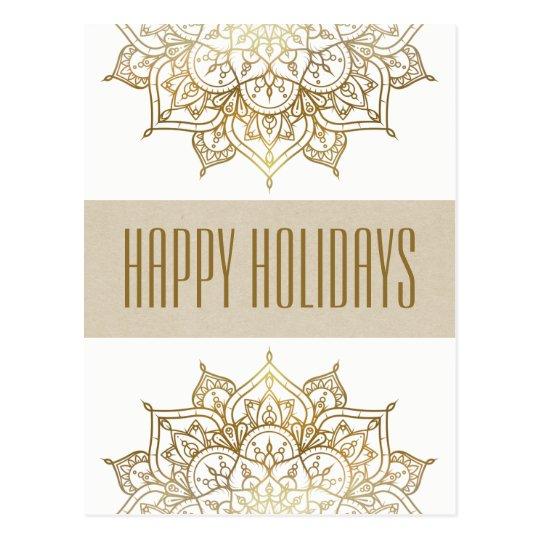 Gold Mandala Elegant Chic Glam Holiday Greetings Postcard