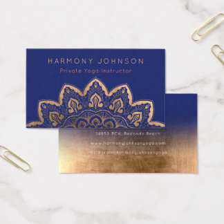 Gold Mandala on Navy Blue Yoga Business Card