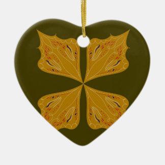 Gold mandala on olive christmas ornament
