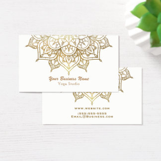 Gold Mandala White Chic Classy Modern Yoga Business Card