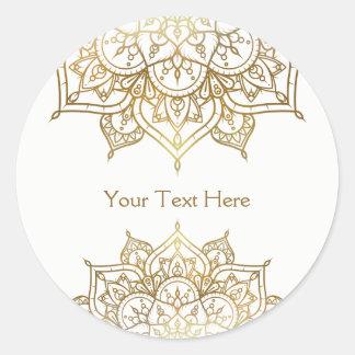 Gold Mandala White Classy Modern Wedding Favor Classic Round Sticker